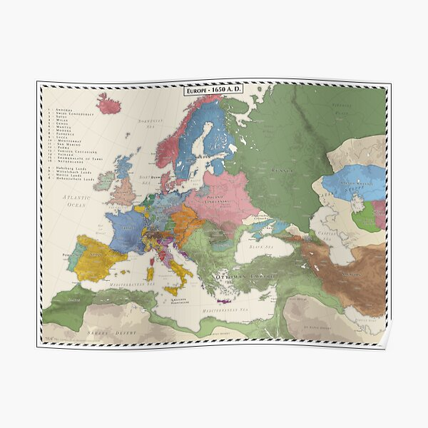 Europe AD 1650 Poster