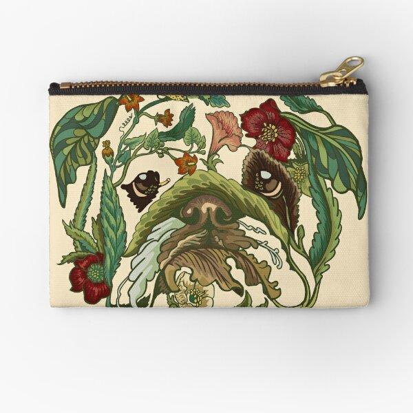 Botanical English Bulldog Zipper Pouch