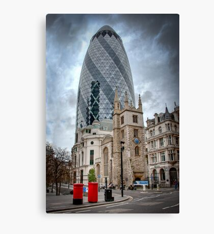 Moody Gherkin: London, UK. Canvas Print