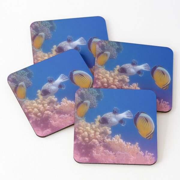 Exquisite Butterflyfish And Pufferfish Colorfully Coasters (Set of 4)