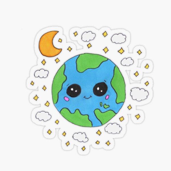Cute cartoon of planet Earth Transparent Sticker