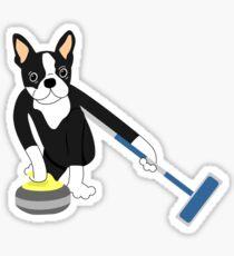 Boston Terrier Winter Olympics Curling Sticker