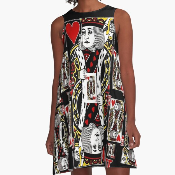 BLACK KING OF HEARTS CASINO PLAYING CARDS  A-Line Dress