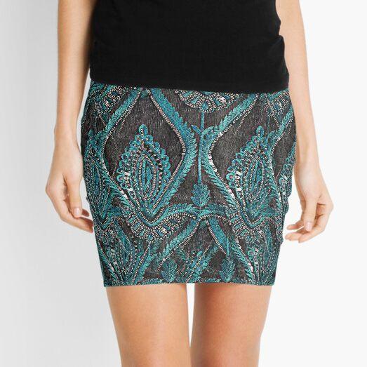 aBlack and turquise pattern Mini Skirt