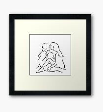 Kissing Couple line art drawing love kiss minimalism black contour  Framed Print