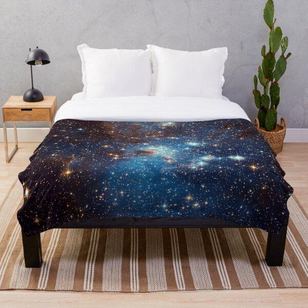 Blue Nebula Stars Space Throw Blanket