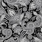 Black And White Vintage Paisley Pattern by artonwear
