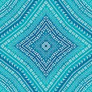 Boho Teal Blue Kaleidoscope Mandala by blueskywhimsy