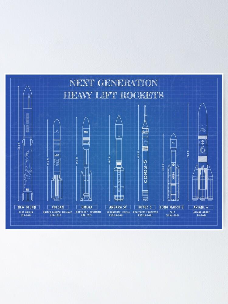 Alternate view of Next Generation Heavy Lift Rockets (Blueprint) Poster