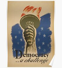 WPA United States Government Work Project Administration Poster 0873 Democracy a Challenge Poster