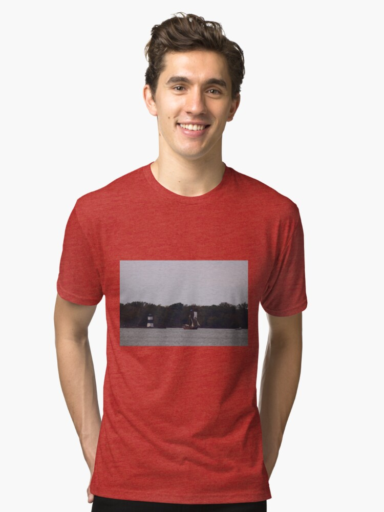 Alternate view of The Brigantine St. Lawerence II sails out of Erie PA  Tri-blend T-Shirt