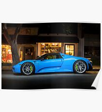 Electric Blue Porsche 918 Spyder Poster