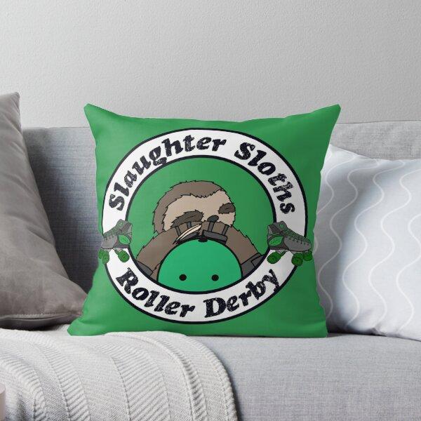 Salughter Sloths Roller Derby Scrim Top 2 Throw Pillow