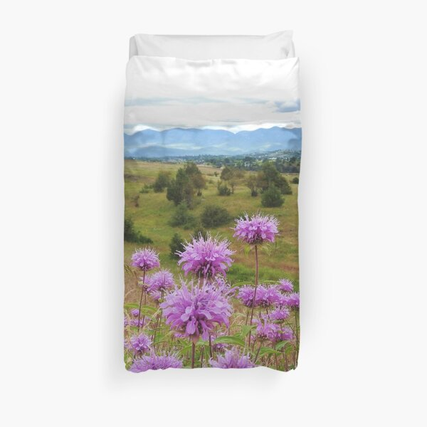 Mission Mountains and Horsemint Duvet Cover
