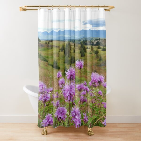 Mission Mountains and Horsemint Shower Curtain