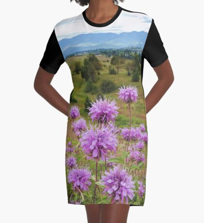 Mission Mountains and Horsemint Graphic T-Shirt Dress