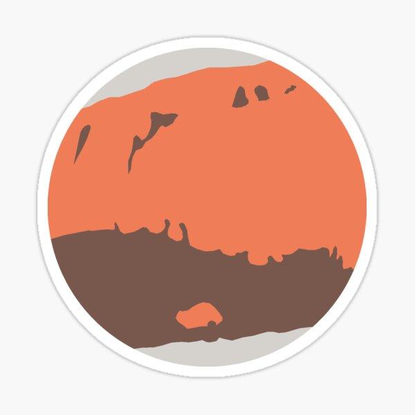 Minimal Flat Planets - Mars Sticker