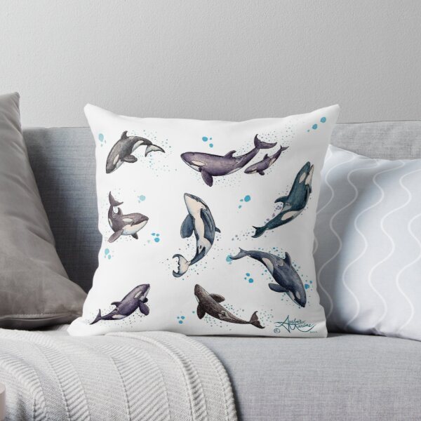 """Orca Pod in Watercolor"" by Amber Marine, Killer Whale Art, © 2019 Throw Pillow"