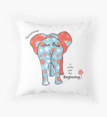 Funny Retirement Art, Animal Art, Elephant Art, New Beginning Throw Pillow