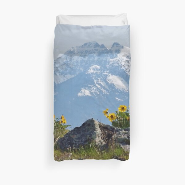 Mission Mountains Balsamroot Duvet Cover