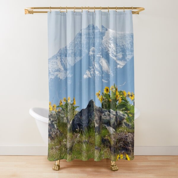 Mission Mountains Balsamroot Shower Curtain