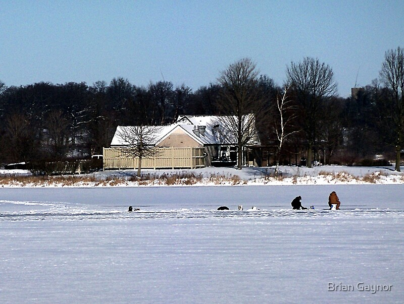 Ice fishing shabbona lake by brian gaynor redbubble for Red lake ice fishing
