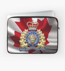 Royal Canadian Mounted Police - RCMP Badge over Waving Flag Laptop Sleeve