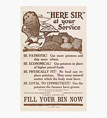 United States Department of Agriculture Poster 0197 Here Sir At Your Service Patriotic Potatoes Economical Fitness Photographic Print