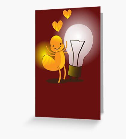 A cute little idea! Glow worm with light bulb Greeting Card