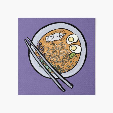 Sea Otter Swimming In Bowl of Ramen Art Board Print