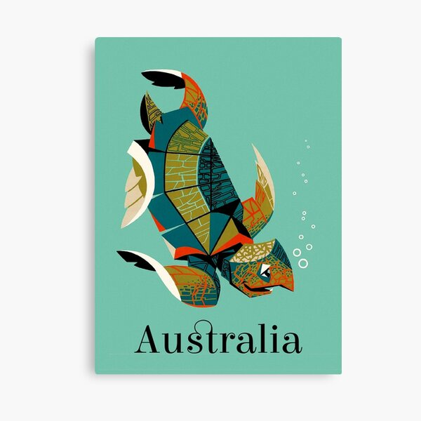 Vintage Australia travel poster Australian Sea Turtle Canvas Print