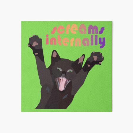 Screams Internally - Black Cat Screaming Arms Up Art Board Print