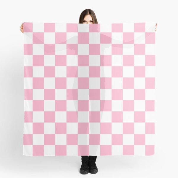 Checkered Pink and White  Scarf