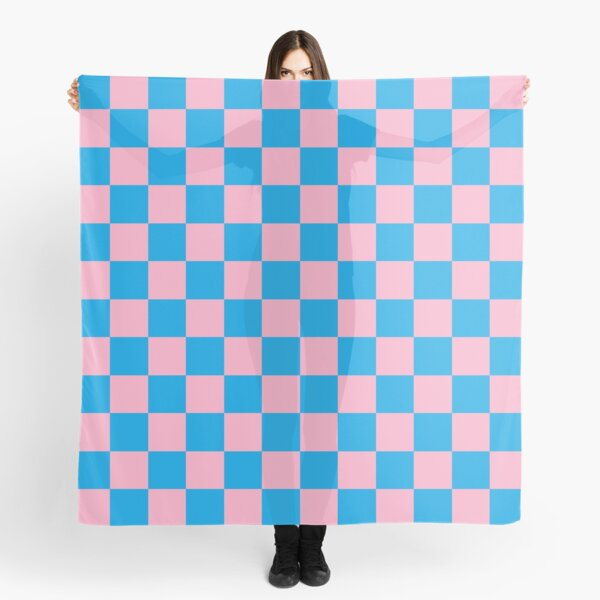 Checkered Pink and Turquoise  Scarf