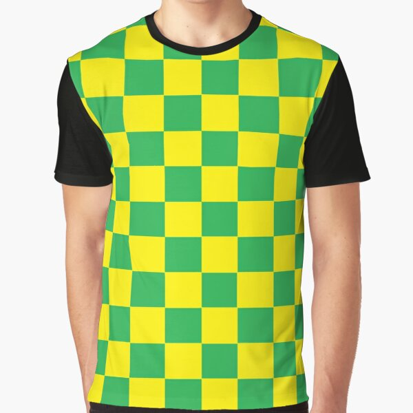 Checkered Green and Yellow  Graphic T-Shirt