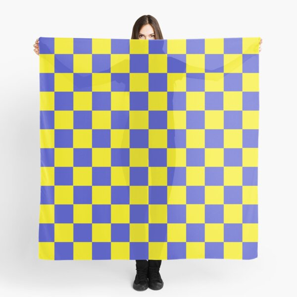 Checkered Blue and Yellow   Scarf
