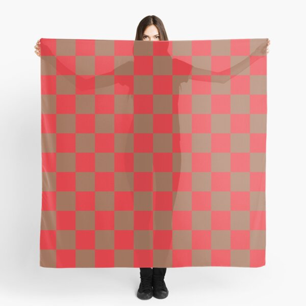 Checkered Red and Brown  Scarf