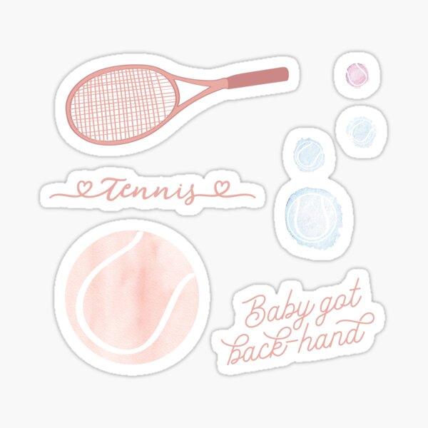 Tennis autocollant tennis aquarelle rose pêche Sticker