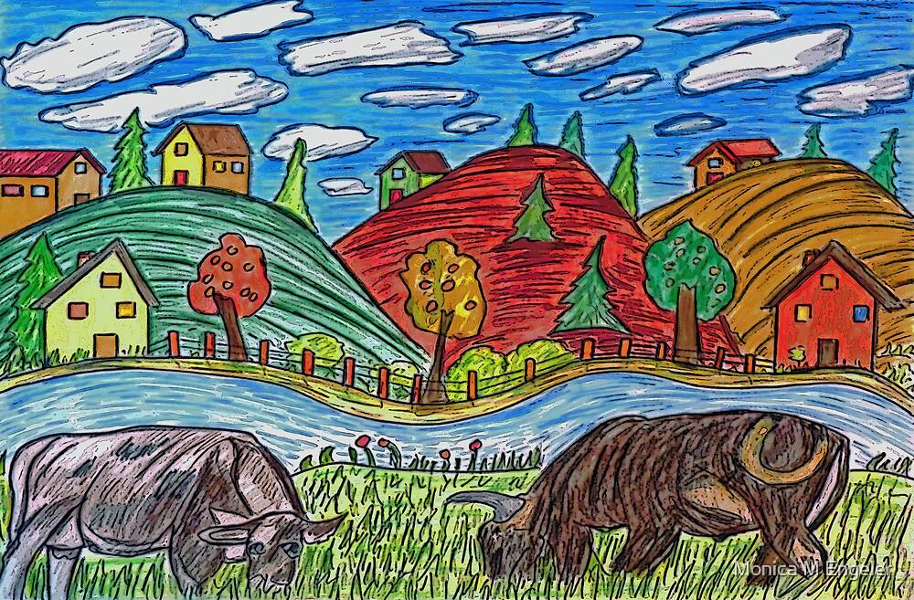 Cow Grazing by Monica Engeler