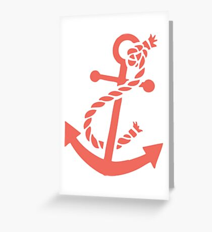 Coral Red Nautical Boat Anchor Illustration Greeting Card