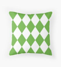 Grass Green and White Diamonds Throw Pillow