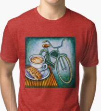 Green Electra Delivery Bicycle Coffee and biscotti Tri-blend T-Shirt