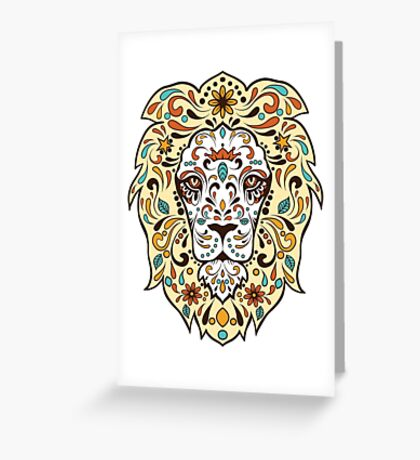 Colorful Lion Head Sugar Skull Illustration Greeting Card