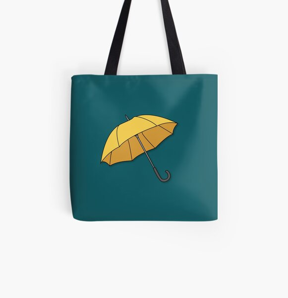Yellow Umbrella  All Over Print Tote Bag