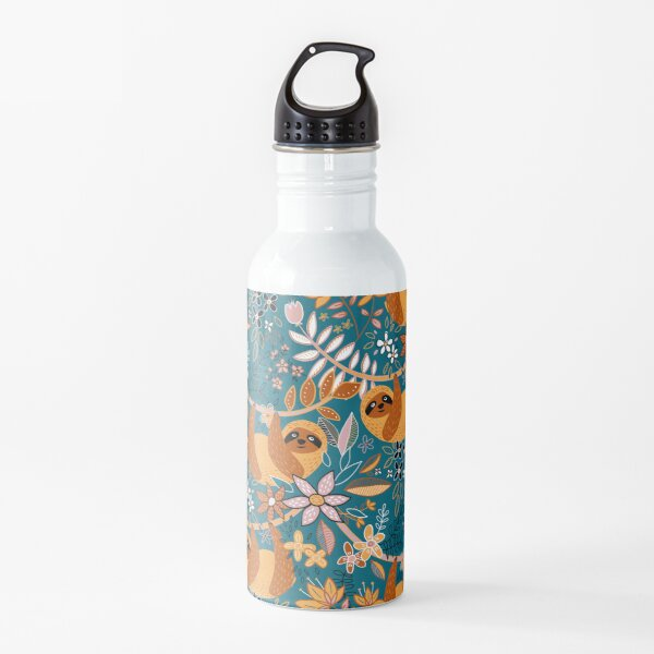 Happy Boho Sloth Floral  Water Bottle