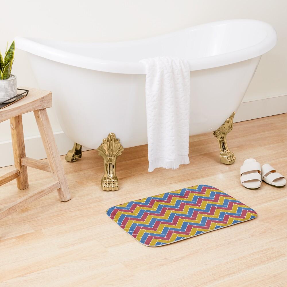 Geometric Pattern: Herringbone: Summer Bath Mat