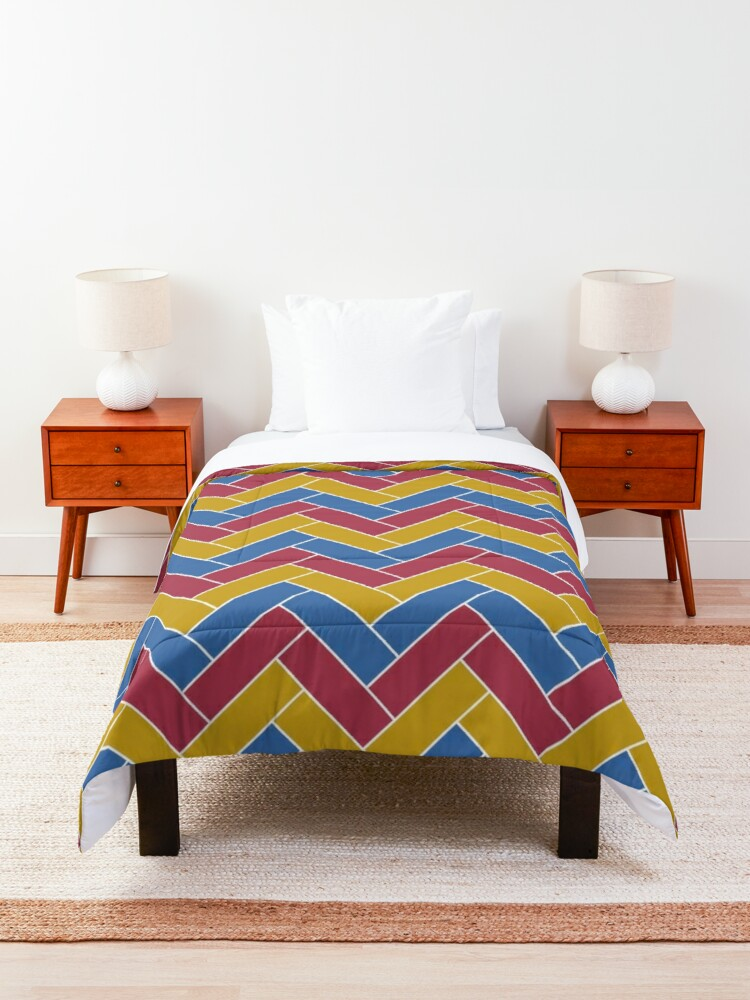 Alternate view of Geometric Pattern: Herringbone: Summer Comforter