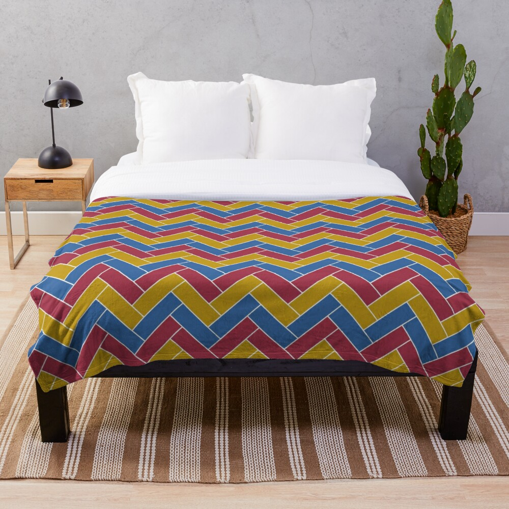 Geometric Pattern: Herringbone: Summer Throw Blanket