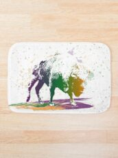 Bison in a colour storm Bath Mat