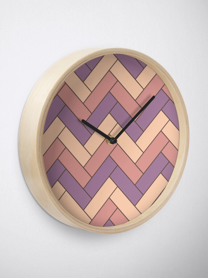 Alternate view of Geometric Pattern: Herringbone: Autumn Clock
